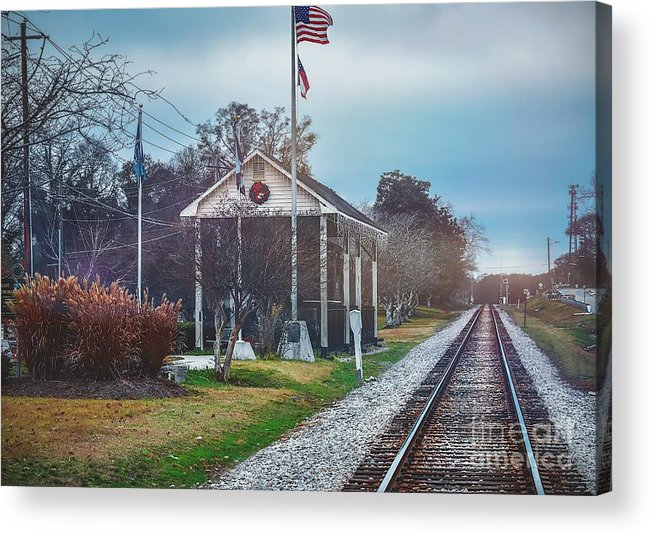 Old Town Acrylic Print featuring the photograph Train Tracks To Old Town by Cory Brewington