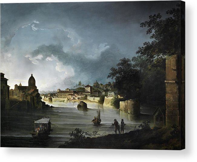 Michael Wutky Acrylic Print featuring the painting View Of The Tiber With The Church San Giovanni Dei Fiorentini by Michael Wutky