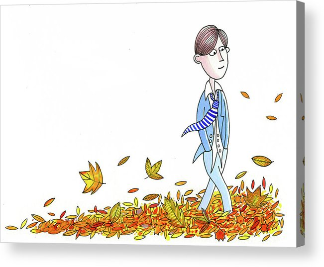 Leaves Acrylic Print featuring the painting Walking Through Leaves by Andrew Hitchen