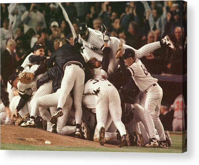 Celebration Acrylic Print featuring the photograph World Series 6 Yankees by Al Bello