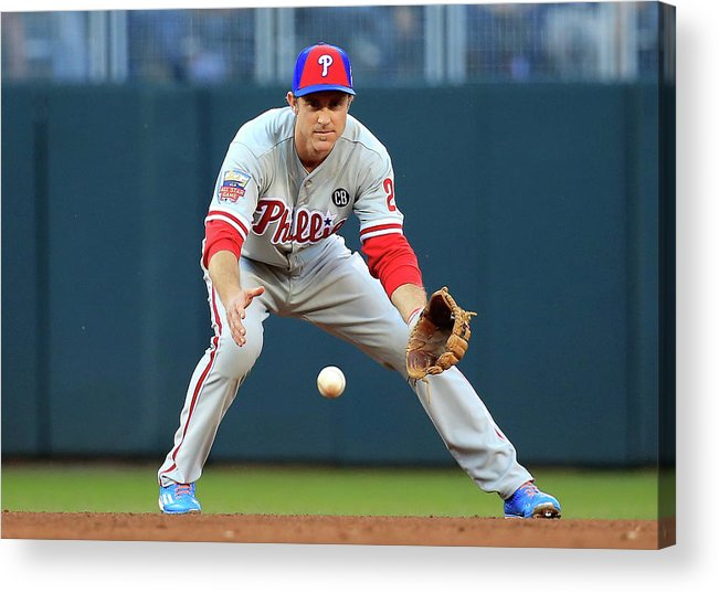 American League Baseball Acrylic Print featuring the photograph Chase Utley by Rob Carr