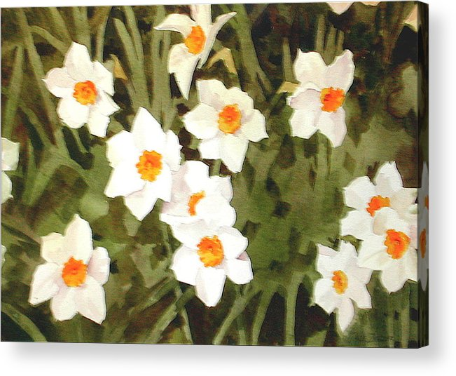 Spring Acrylic Print featuring the painting Jonquills by Faye Ziegler