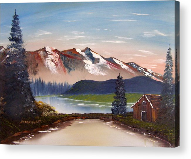 Landscape Acrylic Print featuring the painting Lonely Cabin In The Mountains by Sheldon Morgan