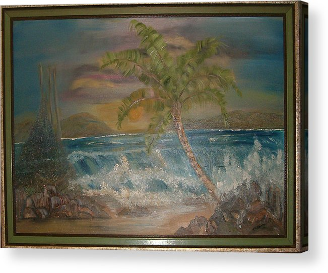Seascape Acrylic Print featuring the painting Ocean Storm by Mikki Alhart