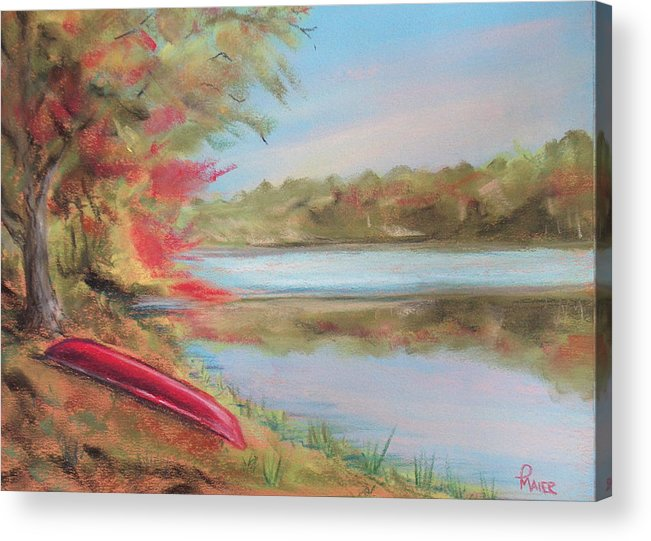 Canoe Acrylic Print featuring the painting Rogue River by Pete Maier