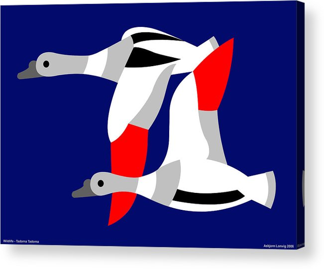 Acrylic Print featuring the digital art The Flying Ducks by Asbjorn Lonvig