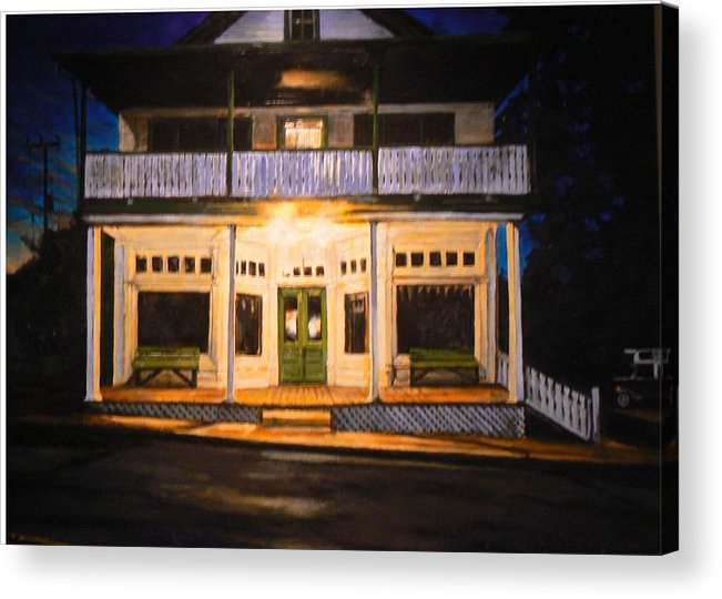Night Scene Acrylic Print featuring the painting The Whippoorwill's Shift by Thomas Akers