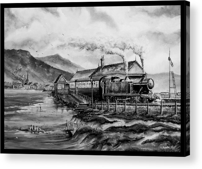 Train Acrylic Print featuring the painting A Day At The Seaside by Andrew Read