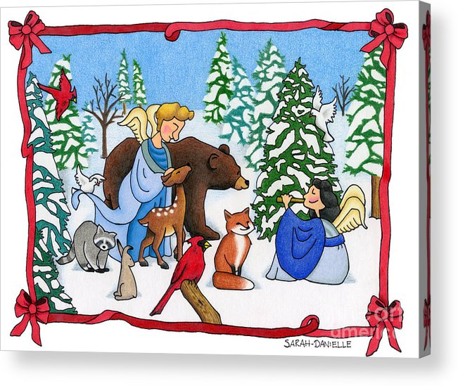 Angels Acrylic Print featuring the painting A Christmas Scene 2 by Sarah Batalka