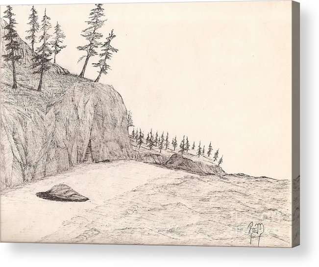 Pen And Ink Acrylic Print featuring the drawing A Lakeshore... Sketch by Robert Meszaros