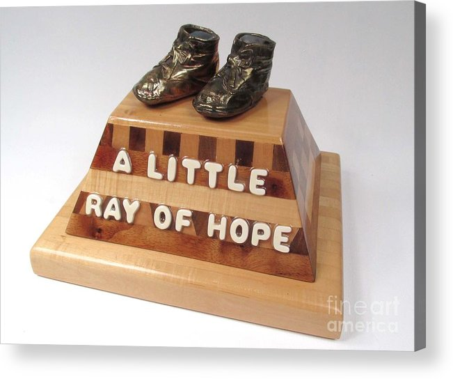 Baby Shoes Acrylic Print featuring the sculpture A Little Ray Of Hope #115 by Bill Czappa