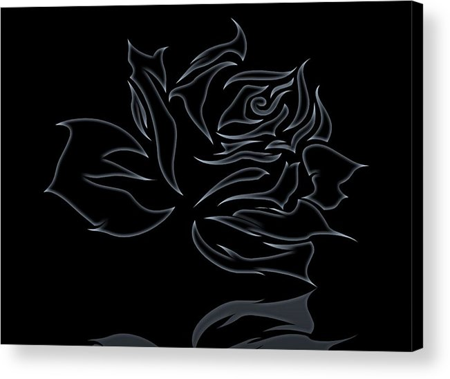 Flower Acrylic Print featuring the digital art Abstract Black Rose by FL collection