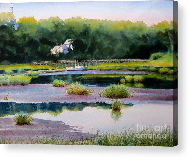 House Acrylic Print featuring the painting Across Duck Creek by Karol Wyckoff