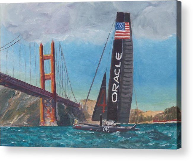 San Francisco Acrylic Print featuring the painting Americas Cup By The Golden Gate by James Lopez
