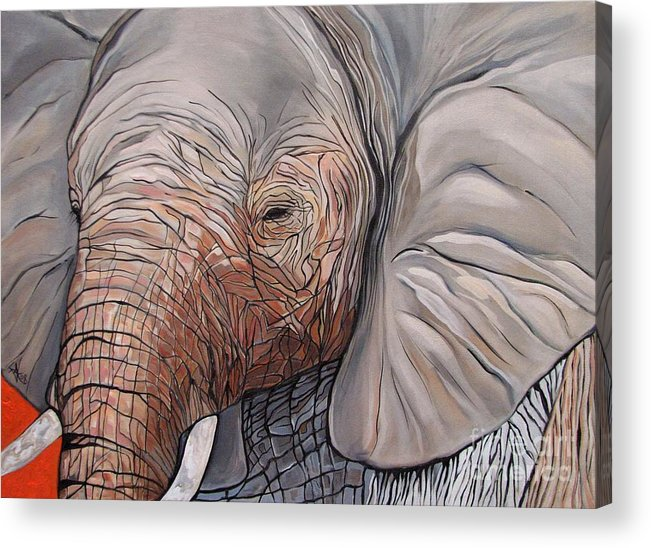 Elephant Bull Painting Acrylic Print featuring the painting Are You There by Aimee Vance