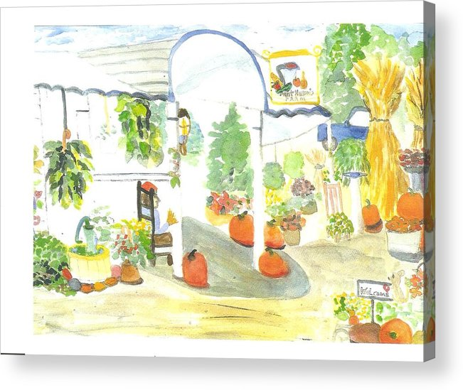 Nj Farm Stand Acrylic Print featuring the painting Aunt Helen's Farm by Thelma Harcum