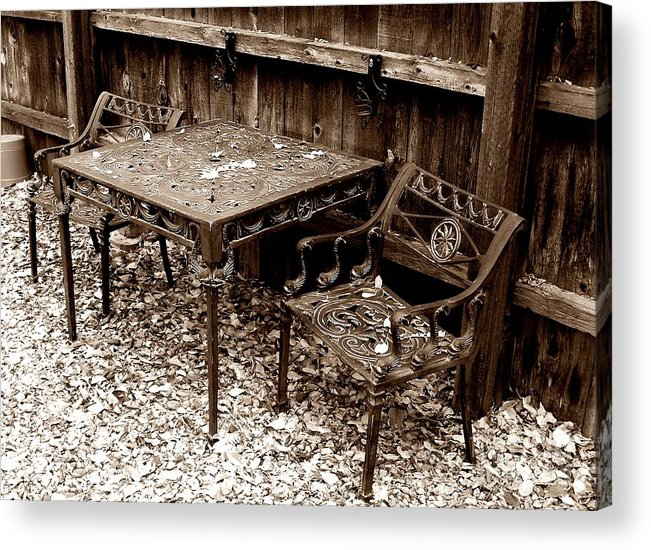 Iron Acrylic Print featuring the painting Back Yard Iron by Tom Riggs