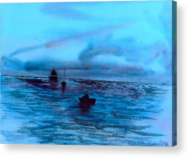 Boats Acrylic Print featuring the painting Boats On The Chesapeake Bay by Kendall Kessler