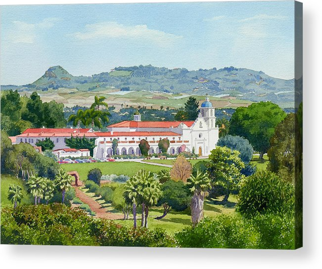California Acrylic Print featuring the painting California Mission San Luis Rey by Mary Helmreich