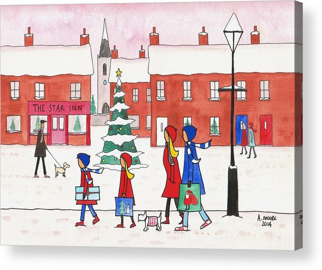 People Acrylic Print featuring the painting Christmas On Church St. by Andy Moore