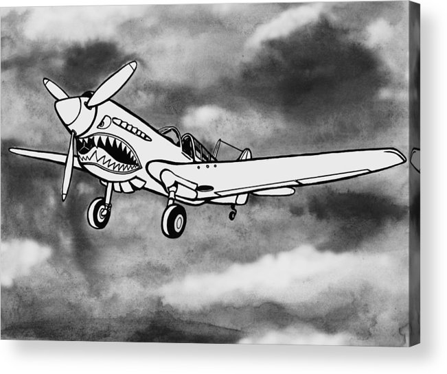 Warhawk Acrylic Print featuring the mixed media Curtiss P-40 Warhawk 2 by Scott Nelson