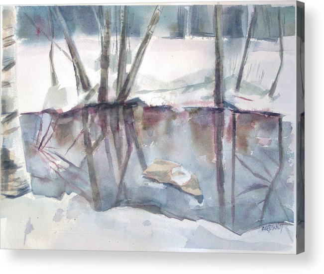 Maine Acrylic Print featuring the painting Ditch Pool April by Grace Keown