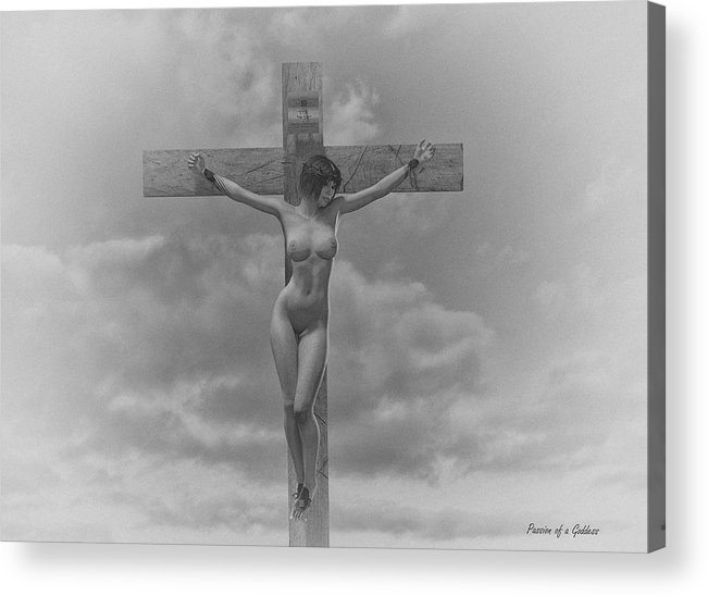 Crucifixion Acrylic Print featuring the digital art Donna In Croce by Ramon Martinez