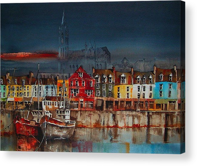 Val Byrne Acrylic Print featuring the painting Dusk On Cobh Harbour Cork by Val Byrne