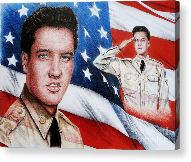 Elvis Acrylic Print featuring the painting Elvis Patriot by Andrew Read