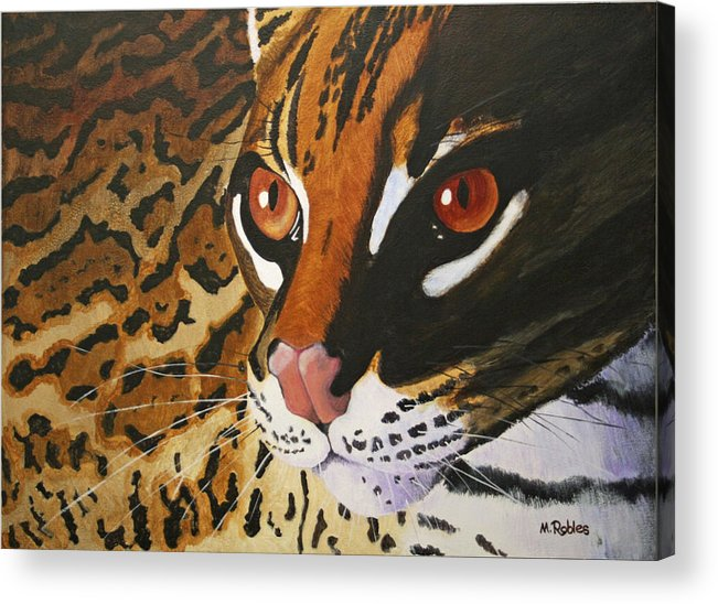 Endangered Acrylic Print featuring the painting Endangered - Ocelot by Mike Robles