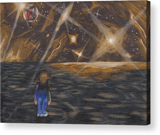 Pluto Acrylic Print featuring the drawing Etestska Lying On Pluto by Keith Gruis