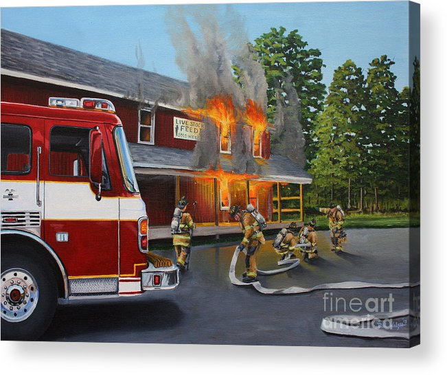 Bulding Fire Acrylic Print featuring the painting Feed Store Fire by Paul Walsh