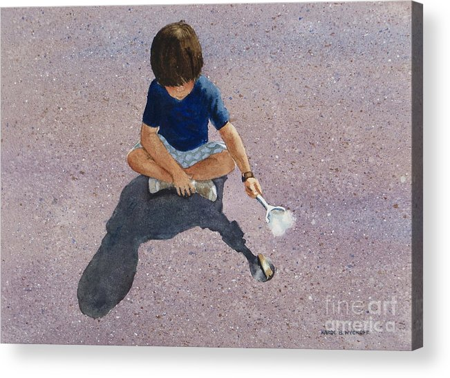 Boy Acrylic Print featuring the painting Fire Starter by Karol Wyckoff