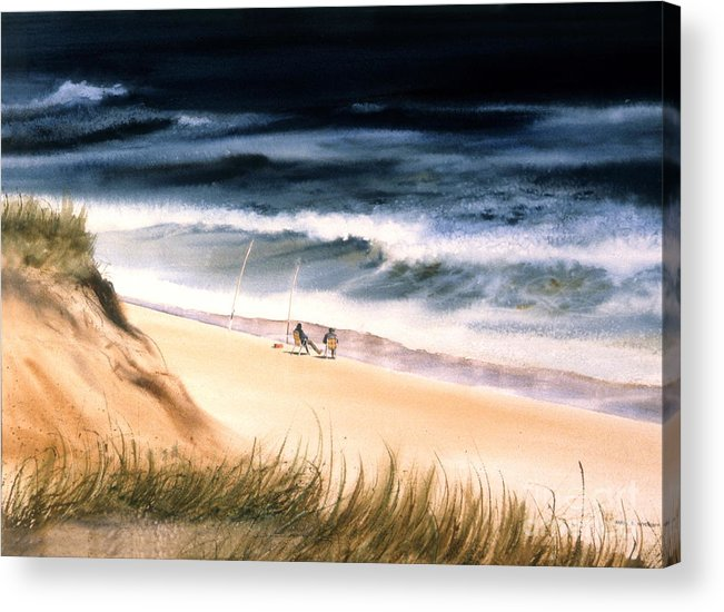 Ocean Acrylic Print featuring the painting Fishermen's Wait by Karol Wyckoff