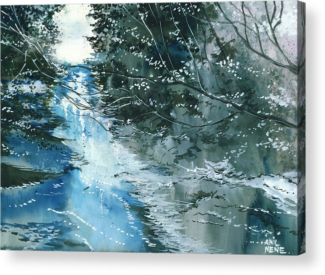 Nature Acrylic Print featuring the painting Floods 3 by Anil Nene