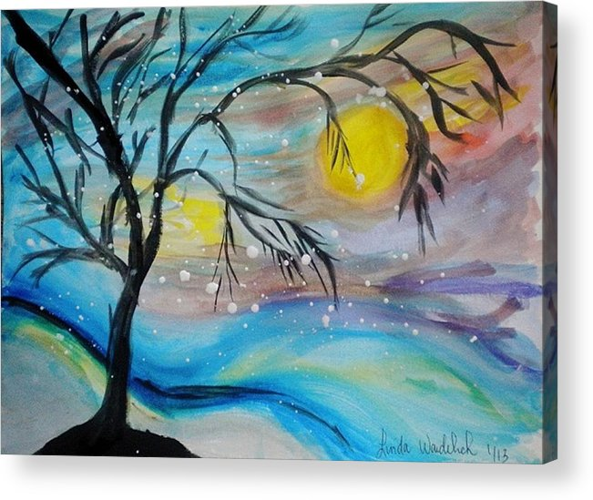 Snow Acrylic Print featuring the painting Fun In The Snow by Linda Waidelich