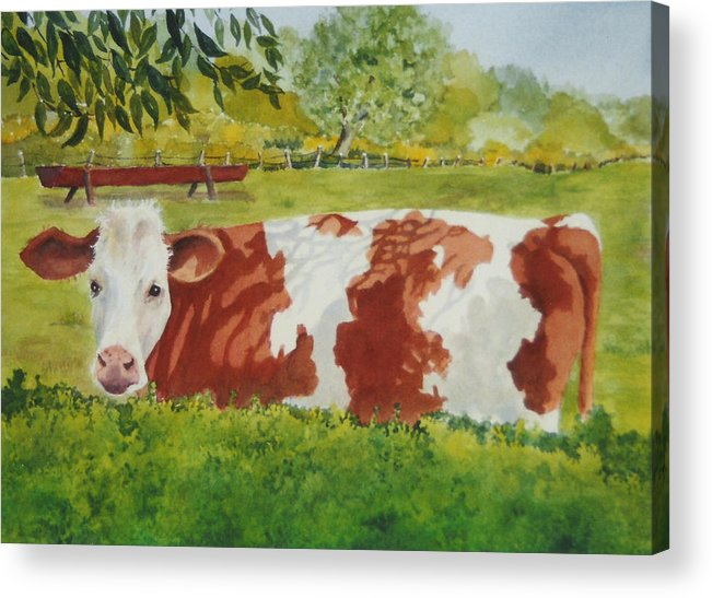 Cows Acrylic Print featuring the painting Give Me Moooore Shade by Mary Ellen Mueller Legault