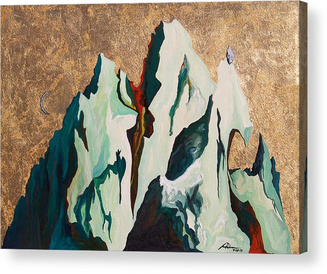 Mountains Acrylic Print featuring the painting Gold Mountain by Joseph Demaree