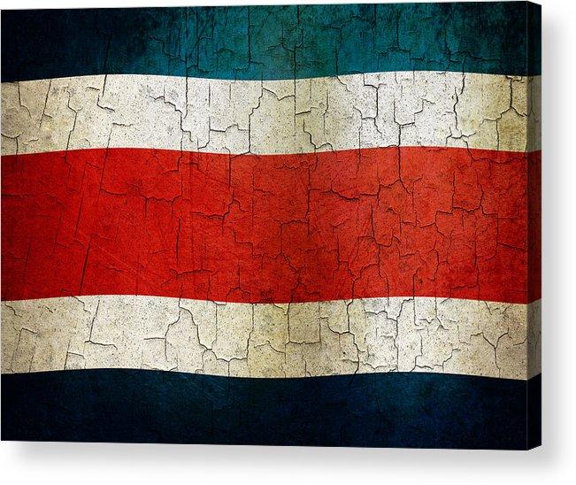 Aged Acrylic Print featuring the digital art Grunge Costa Rica Flag by Steve Ball