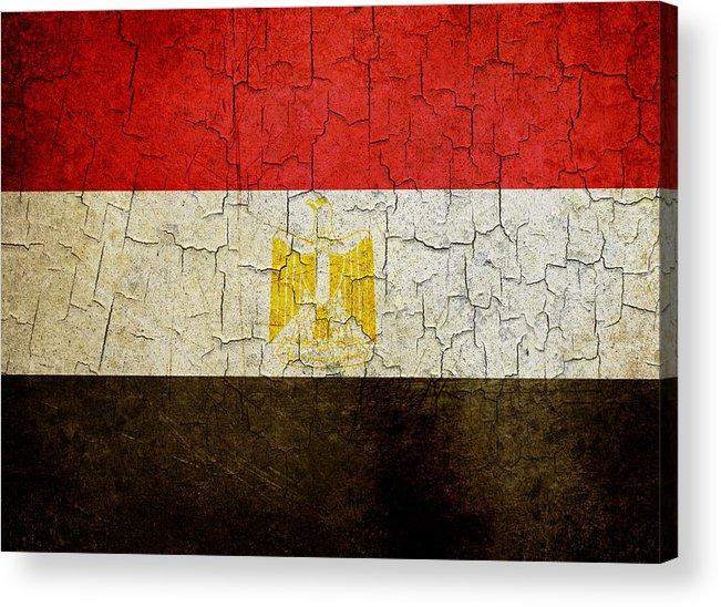 Aged Acrylic Print featuring the digital art Grunge Egypt Flag by Steve Ball