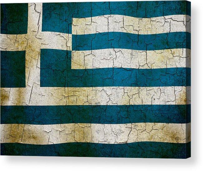 Aged Acrylic Print featuring the digital art Grunge Greece Flag by Steve Ball
