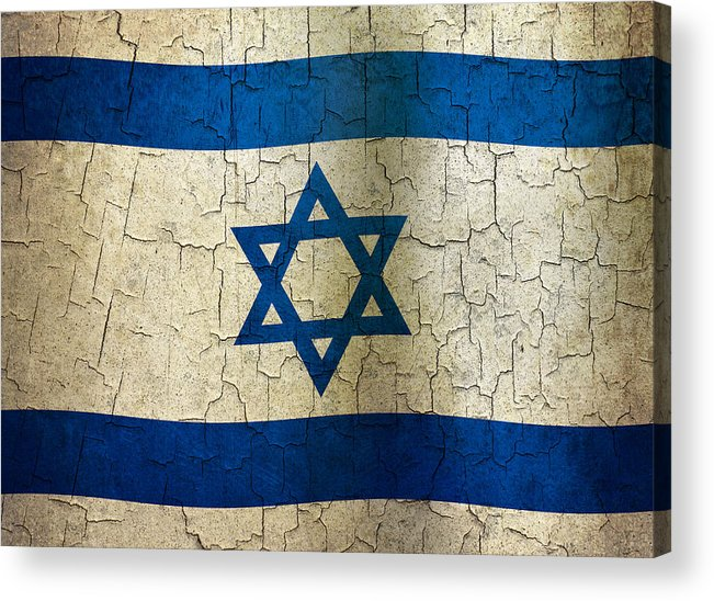 Aged Acrylic Print featuring the digital art Grunge Israel Flag by Steve Ball