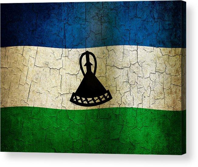 Aged Acrylic Print featuring the digital art Grunge Lesotho Flag by Steve Ball