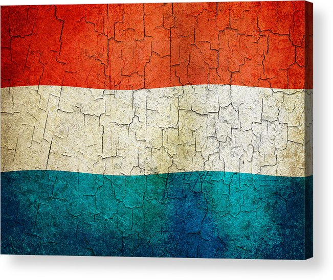 Aged Acrylic Print featuring the digital art Grunge Luxembourg Flag by Steve Ball