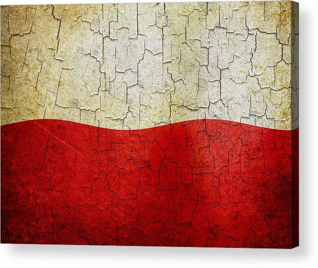 Aged Acrylic Print featuring the digital art Grunge Poland Flag by Steve Ball