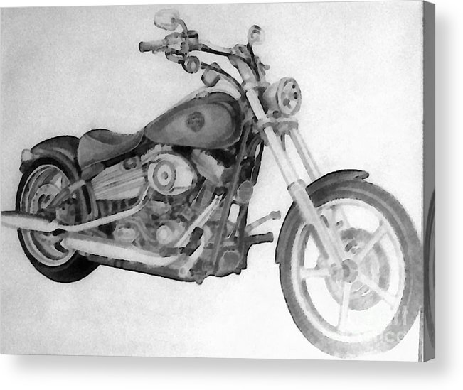 Motorcycle Acrylic Print featuring the painting Harley Davidson Big Boy Toy by Scott B Bennett