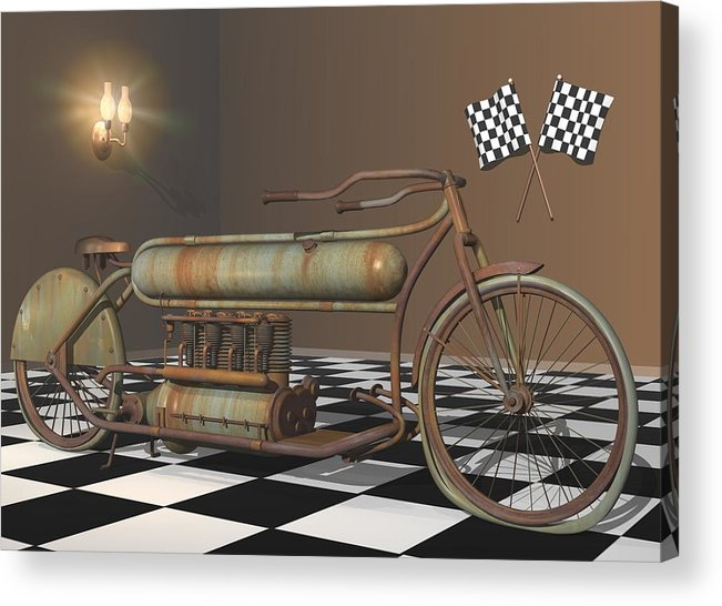Motorcycle Acrylic Print featuring the digital art Henderson Special by Stuart Swartz
