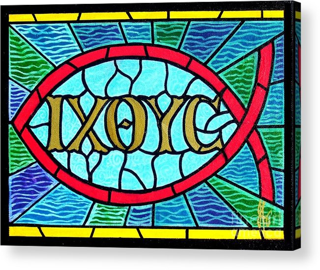 Church Acrylic Print featuring the painting Icthus Sign Of The Fish by Jim Harris