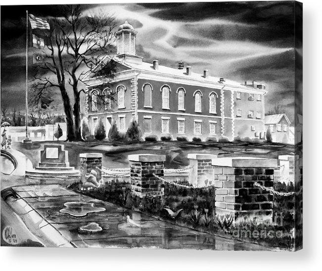 Iron County Courthouse Iii - Bw Acrylic Print featuring the painting Iron County Courthouse IIi - Bw by Kip DeVore