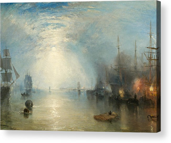 Shipping; Industry; Coal; Fire; Night; Moon; Sailing; Sail; Boat; Burning; Coal; Kealboat; Keels; Cargo Acrylic Print featuring the painting Keelmen Heaving In Coals By Moonlight by Joseph Mallord William Turner